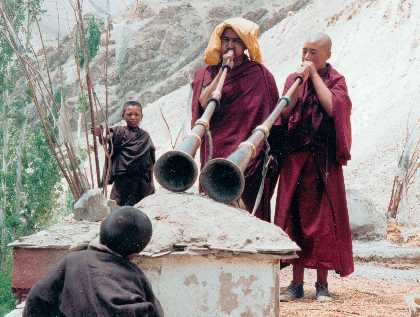 Monks blowing horns Lhasa 60